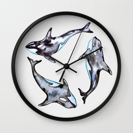 Watercolor killer whales Wall Clock