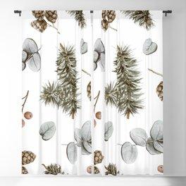 Retro Cozy Winter Cabin Water-colour Pattern Blackout Curtain