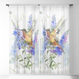 Alen's Hummingbird and Blue Flowers, floral bird design birds, watercolor floral bird art Sheer Curtain