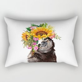 Sloth with Sunflower Crown Rectangular Pillow