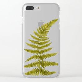 Green Watercolor Fern Pattern Clear iPhone Case