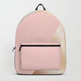 Modern blush pink, grey & rose gold geometric triangles Backpack