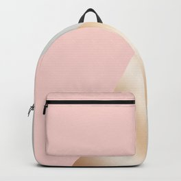 Modern blush pink, grey & rose gold geometric triangles Backpack