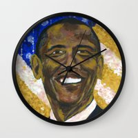 obama Wall Clocks featuring Obama by Stan Kwong
