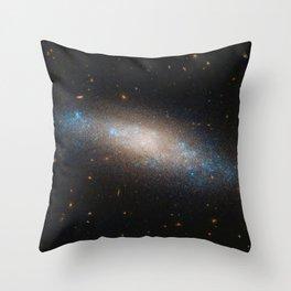 Celestial Sequins Photograph of Spiral Galaxy NGC 4455 - Coma Berenices (Berenice's Hair) Throw Pillow