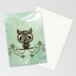 Cute little owl, green diamond Stationery Cards