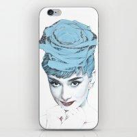 audrey iPhone & iPod Skins featuring Audrey by Susana Miranda ilustración