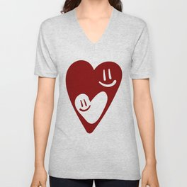 TWO MESMERIZED LOVING HEART FACES - Valentines Day Unisex V-Neck