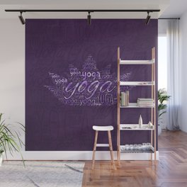 Yoga Word Art in Lotus shape on  Purple Wall Mural