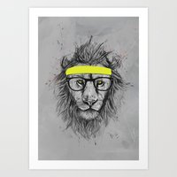 hipster lion Art Prints featuring hipster lion by Balazs Solti