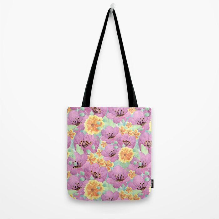 floral pattern. 3 Tote Bag