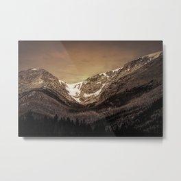 Snow in the Saddle Metal Print