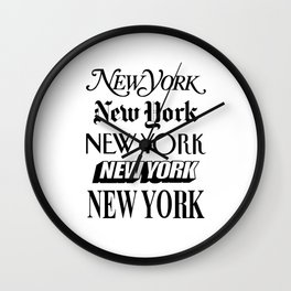 I Heart New York City Black and White New York Poster I Love NYC Design black-white home wall decor Wall Clock