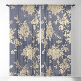 Elegant vintage navy blue faux gold flowers Sheer Curtain