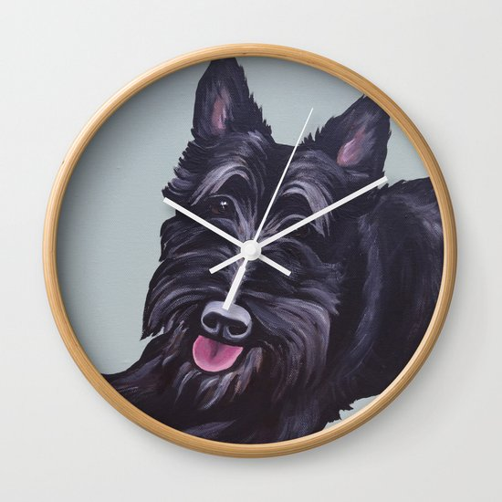 Wall Clock Sky Terrier Dog