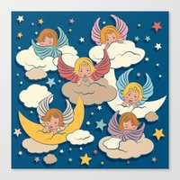 angels Canvas Prints featuring Angels by Helene Michau