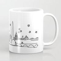 washington dc Mugs featuring Washington DC City Skyline by Architette Studios
