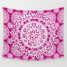 Pink and White Patterned Mandala Textile Wall Tapestry
