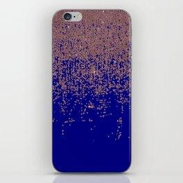 Glamorous Rose Gold Cobalt Blue Glitter Ombre iPhone Skin
