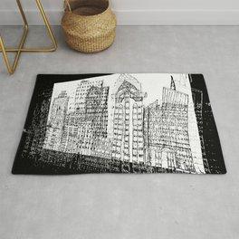 city 3d digital painted sketch Rug