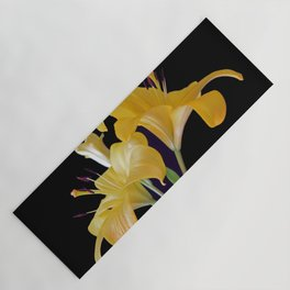 Yellow Lily Duo On Black Yoga Mat