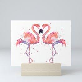 Pink Flamingo Love Two Flamingos Mini Art Print