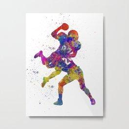 American Football players 07 in watercolor Metal Print