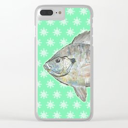 Bluegill and Green Wallpaper Design Clear iPhone Case
