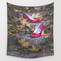 shoes Wall Tapestries featuring Red Shoes by Maria Heyens