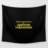 quentin tarantino Wall Tapestries featuring Written And Directed By Quentin Tarantino by FunnyFaceArt