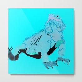 Goanna in blue Metal Print