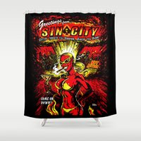 sin city Shower Curtains featuring Devil Girl Sin City Atom Bomb by Scott Jackson Monsterman Graphic