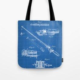 Fishing Rod Patent - Fishing Art - Blueprint Tote Bag