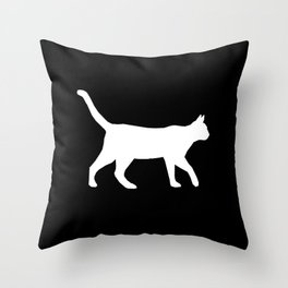 Cat silhouette cat lady cat lover black and white square minimal modern pet silhouette pattern Throw Pillow