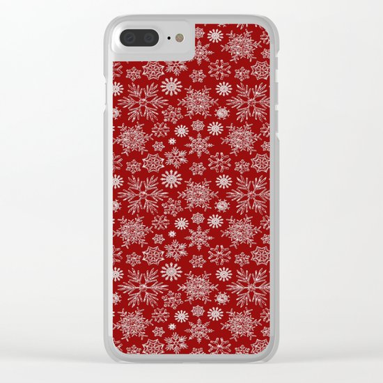 Merry Christmas- Abstract christmas snow star pattern on festive red Clear iPhone Case