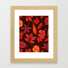 Autumn leaves watercolor Framed Art Print