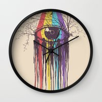 future Wall Clocks featuring Look into the Future by Norman Duenas