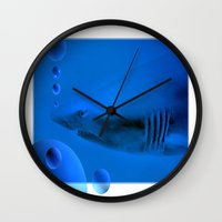 shark Wall Clocks featuring Shark by Laake-Photos