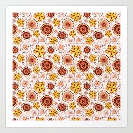 Organic Medallions -Burnt Orange Art Print