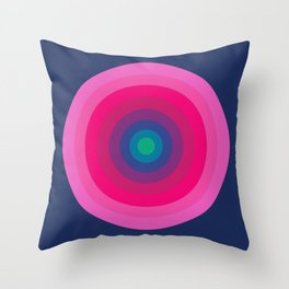 Blue & Pink Retro Bullseye Throw Pillow