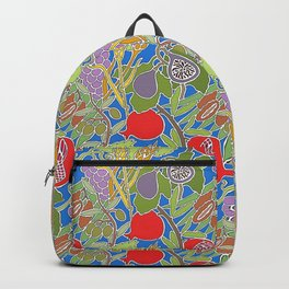 Seven Species Botanical Fruit and Grain with Blue Background Backpack