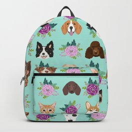 Dogs and cats pet friendly floral animal lover gifts dog breeds cat ladies Backpack