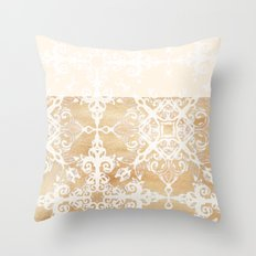 White Doodle Pattern on Sepia Watercolor Ink - neutral tan, cream & brown Throw Pillow
