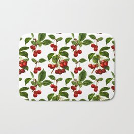 Vintage Botanical Cherries Print on White Bath Mat