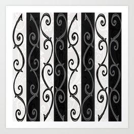 Burtonesque Stripes and Swirls.. Art Print