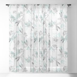 Seed Pods and Petals, black and white line art with water-colour leaves. Sheer Curtain