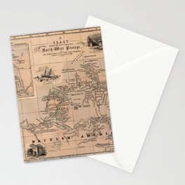 Map of the Northwest Passage 1856 Stationery Cards