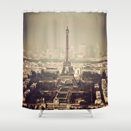paris skyline aerial view with eiffel tower Shower Curtain
