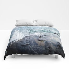 Rough waters- color  Comforters