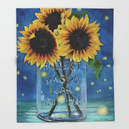 Lightning Bugs and Sunflowers Throw Blanket